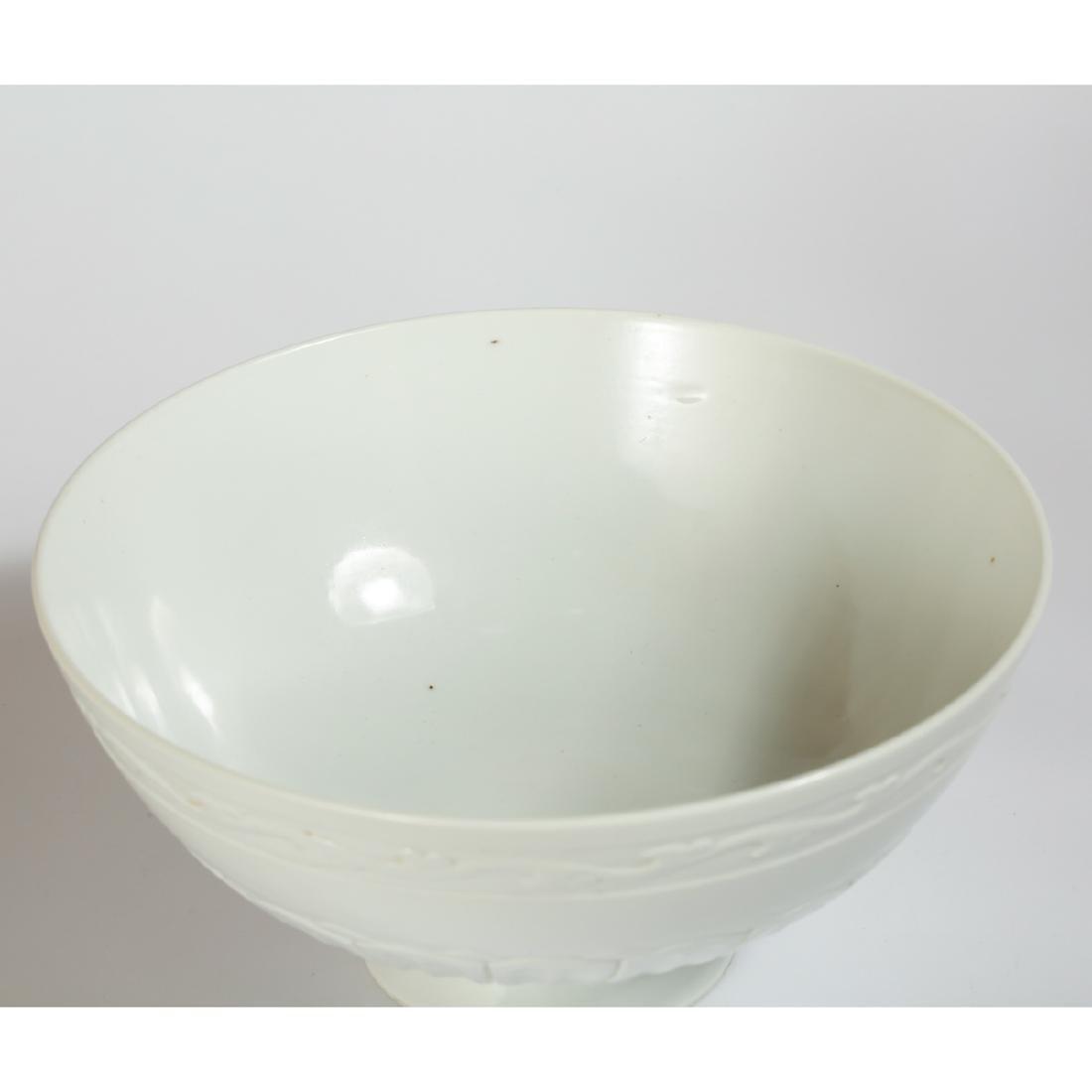 CHINESE WHITE GLAZED ANHUA BOWL - 2