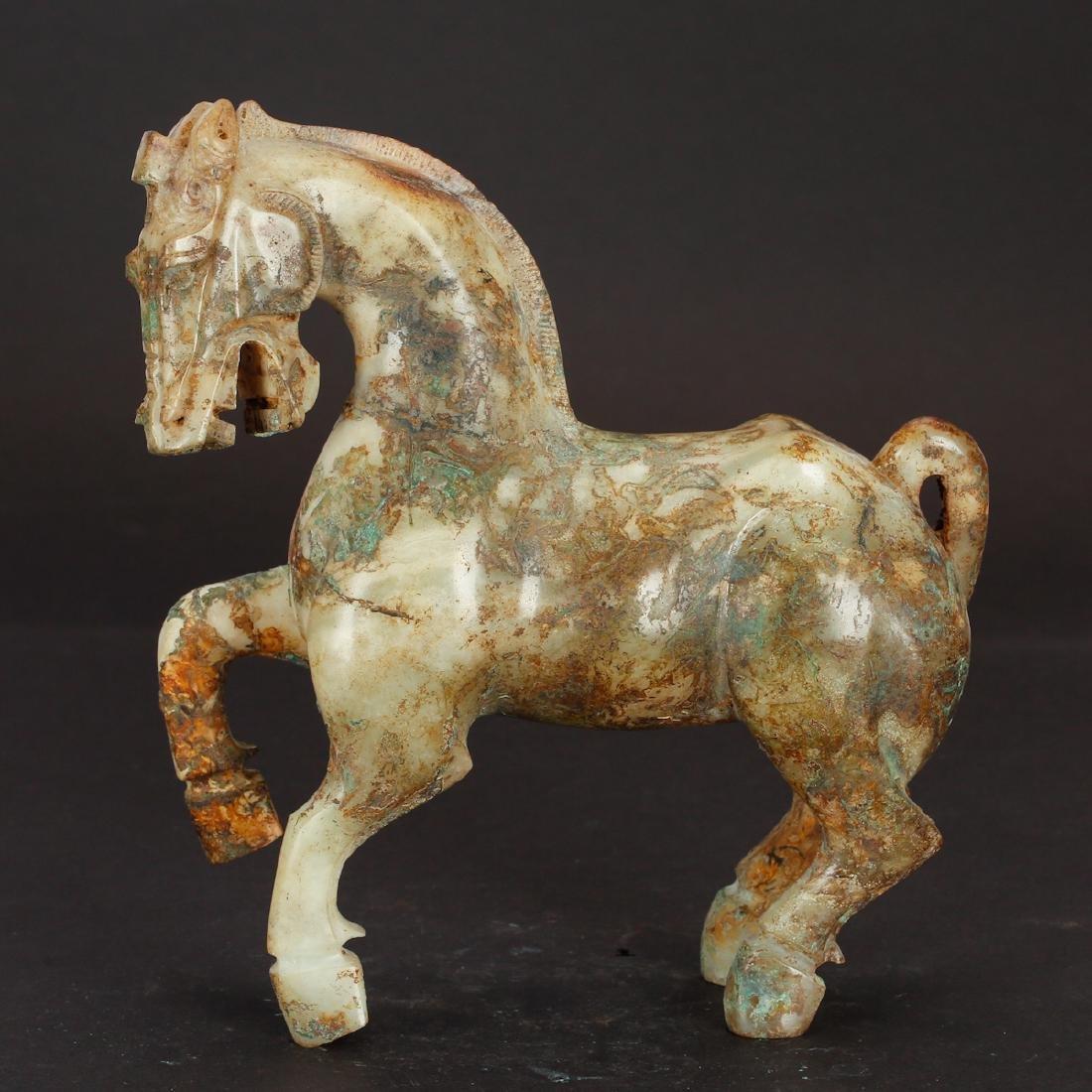 CHINESE ARCHAIC JADE HORSE