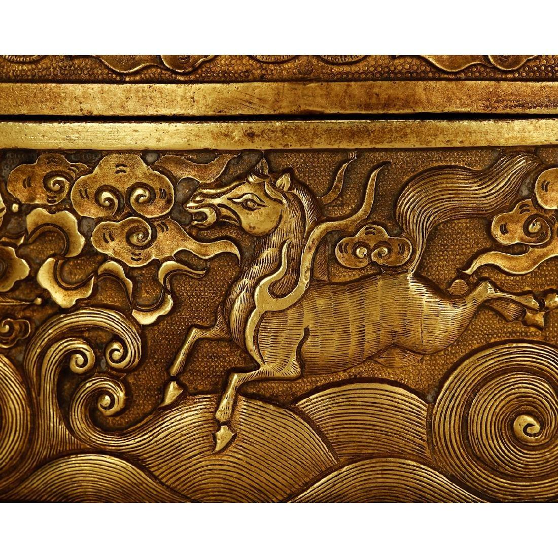 CHINESE GILT BRONZE COVER BOX - 3
