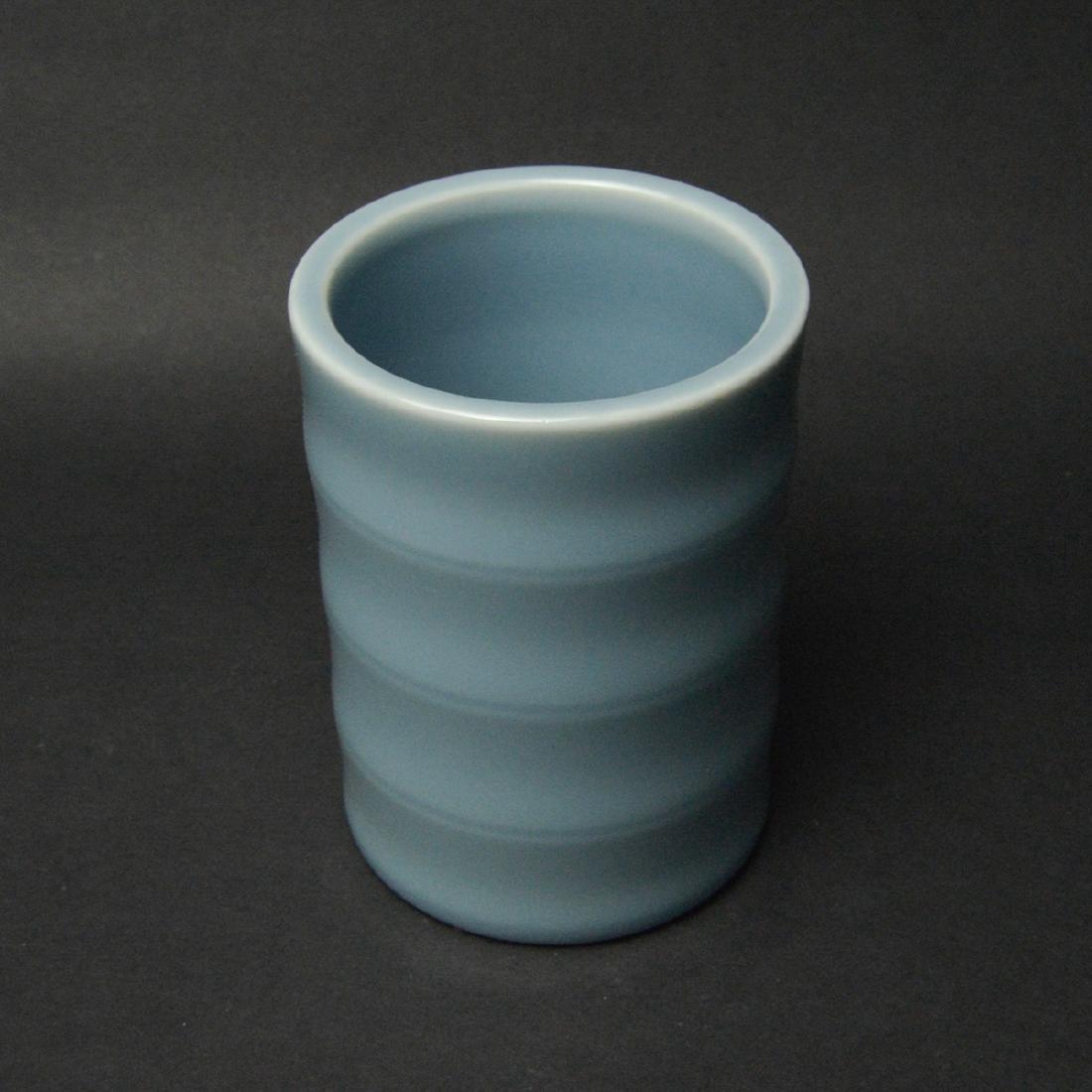 CHINESE BLUE GLAZED BRUSH POT - 2