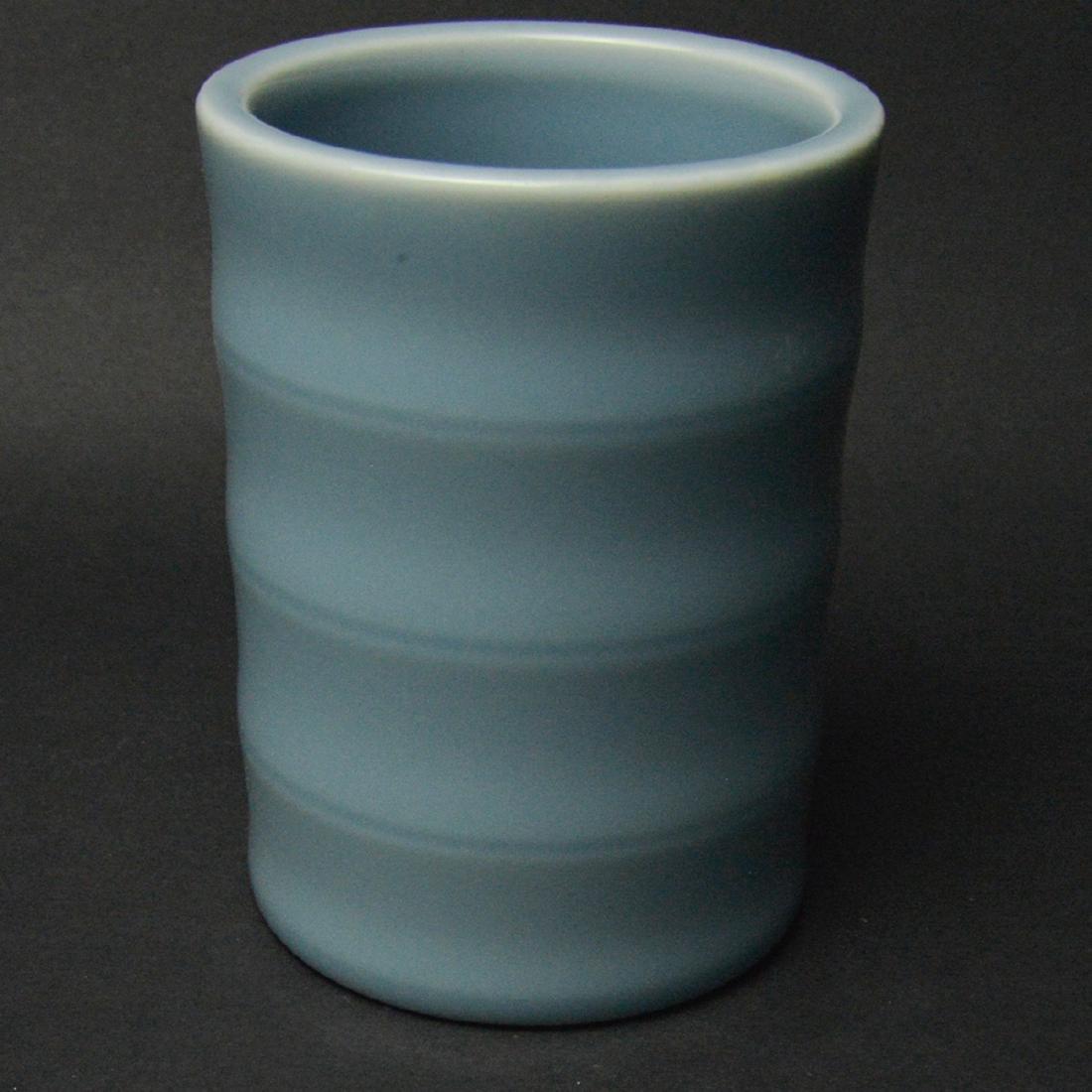 CHINESE BLUE GLAZED BRUSH POT - 3