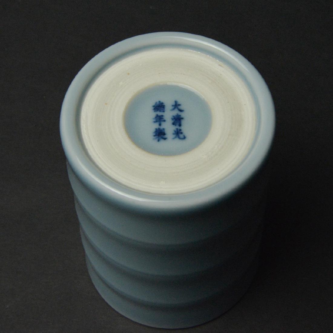CHINESE BLUE GLAZED BRUSH POT - 6