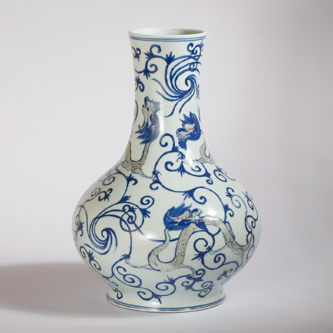 CHINESE BLUE AND WHITE DRAGON VASE - 2
