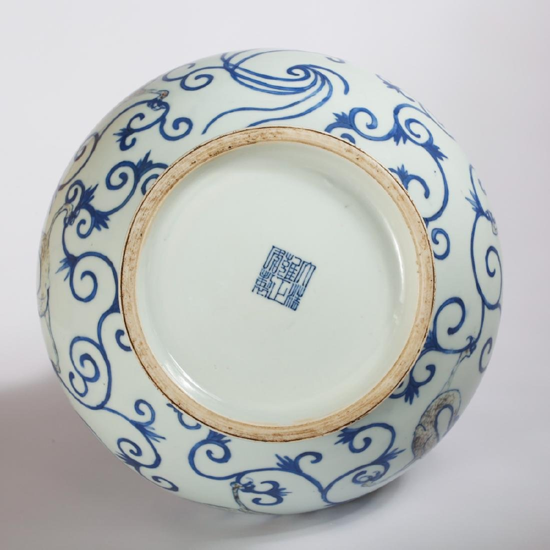 CHINESE BLUE AND WHITE DRAGON VASE - 6