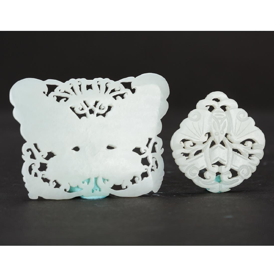 CHINESE WHITE JADE PENDANTS, TWO - 2