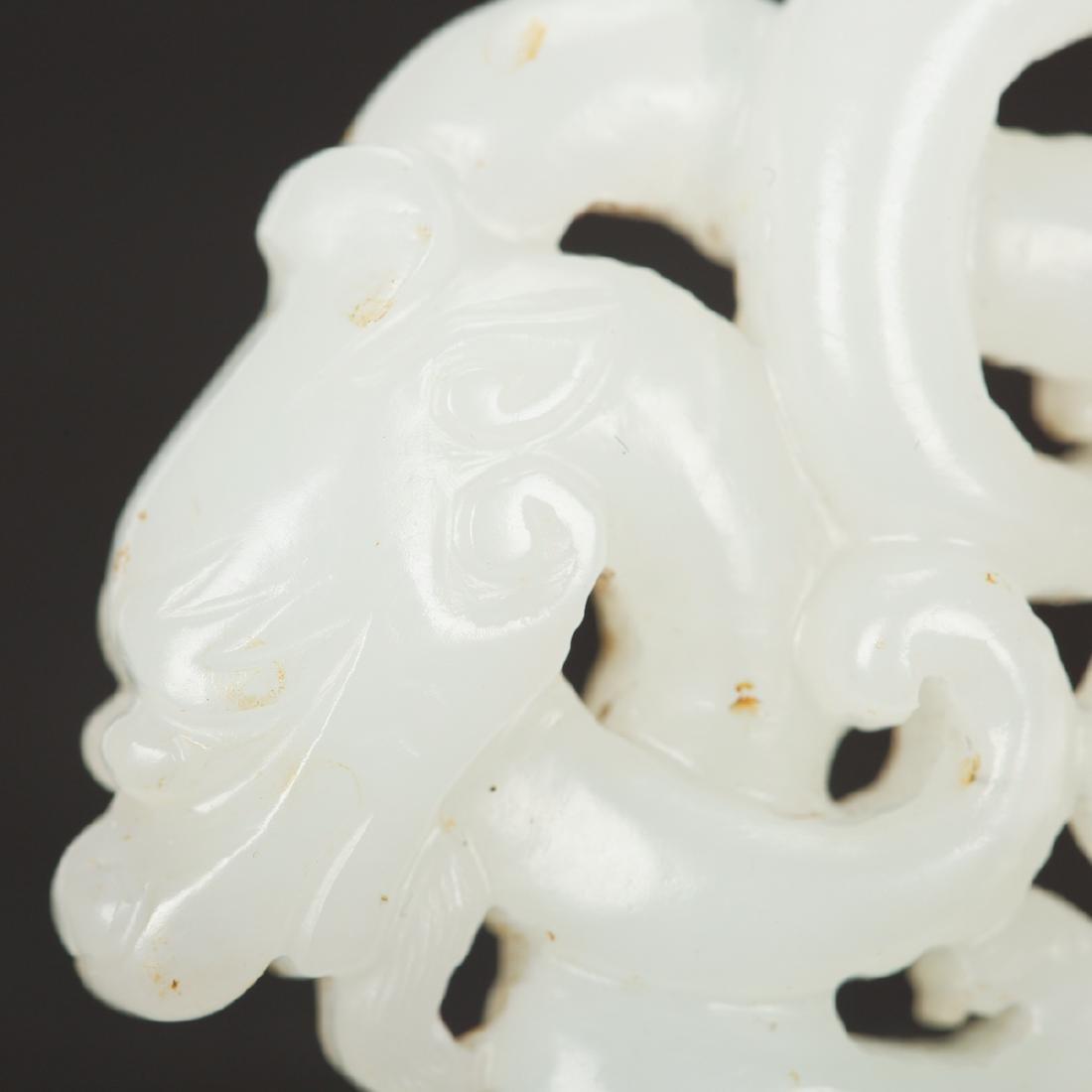 CHINESE WHITE JADE CHILONG PENDANT - 3