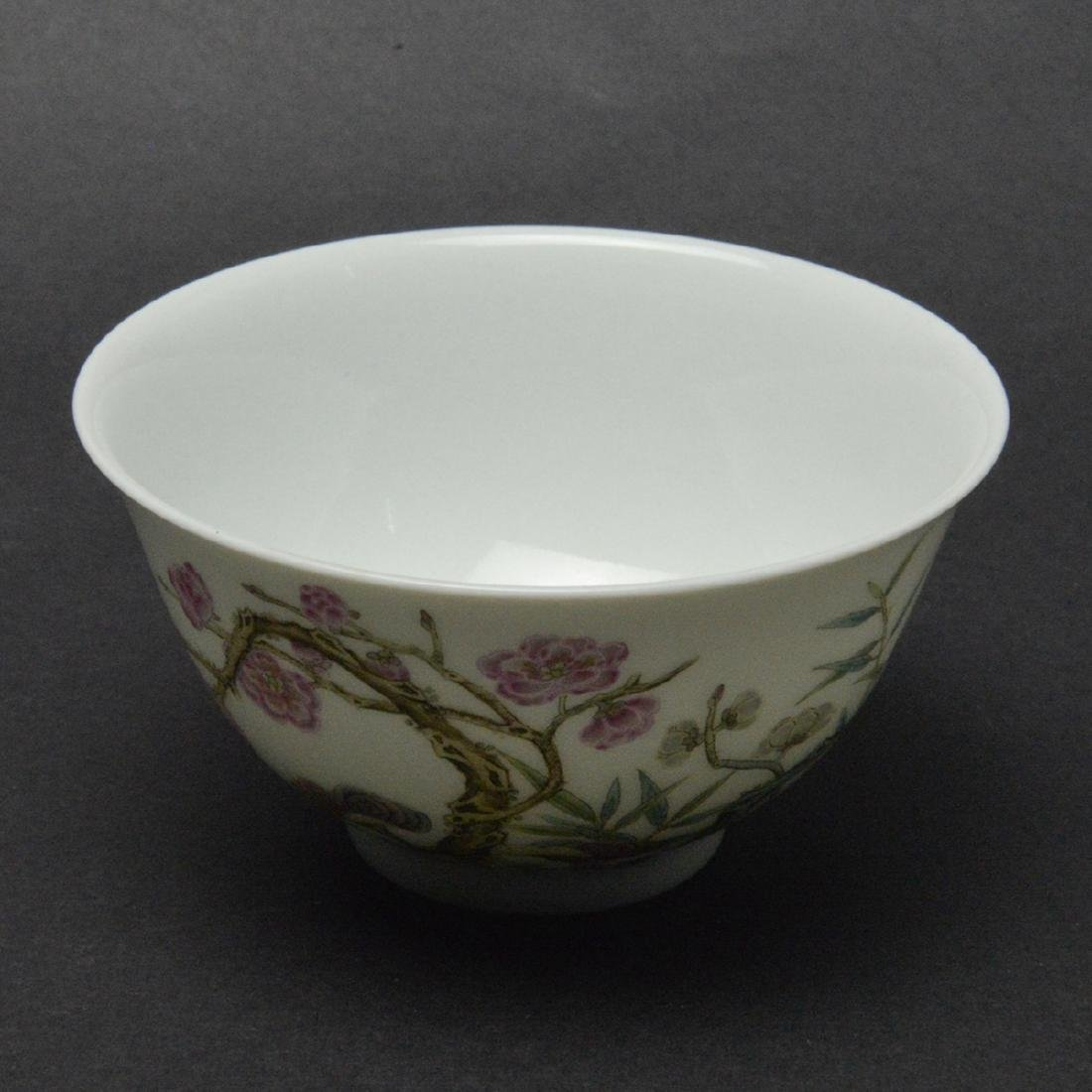 CHINESE FAMILLE ROSE PORCELAIN CUP - 3