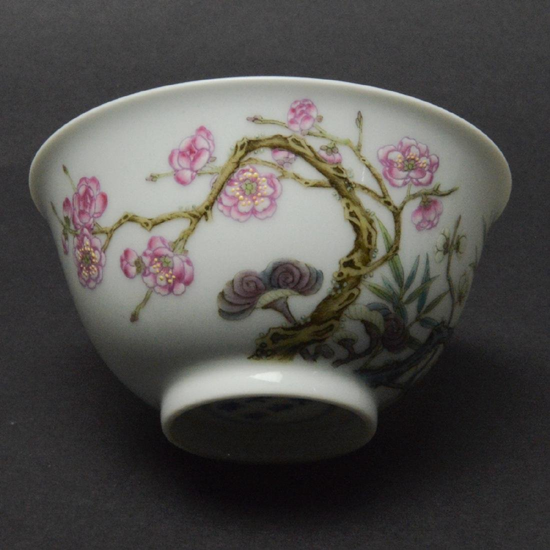CHINESE FAMILLE ROSE PORCELAIN CUP - 4