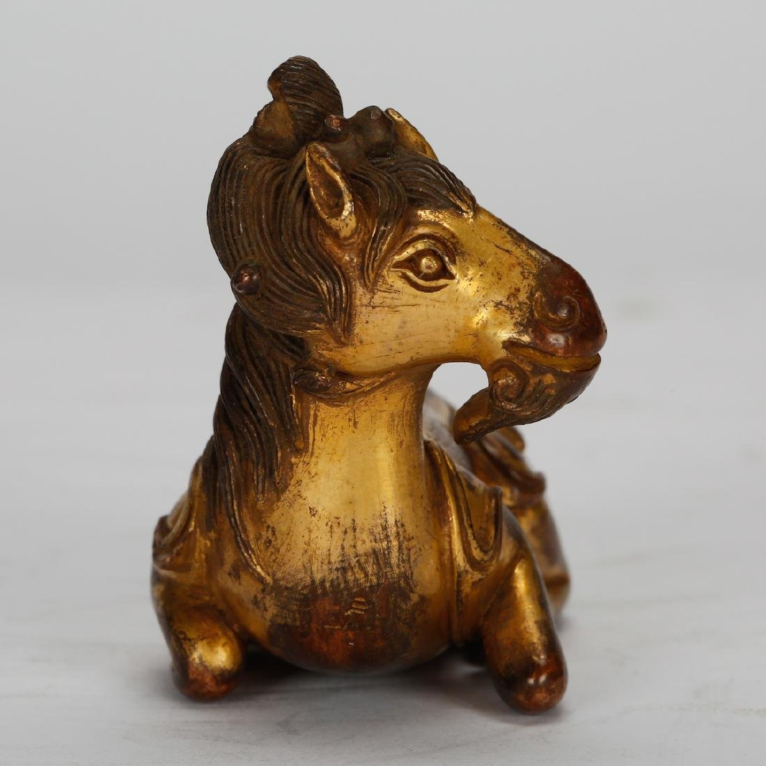CHINESE GILT BRONZE SEATED BEAST - 2