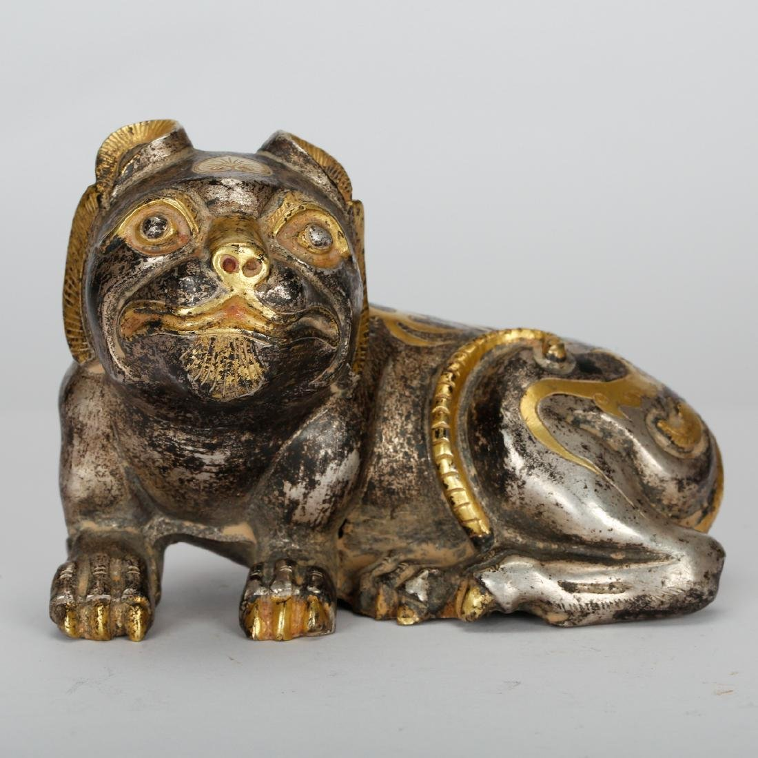 CHINESE GILT SILVER OVER BRONZE DOG