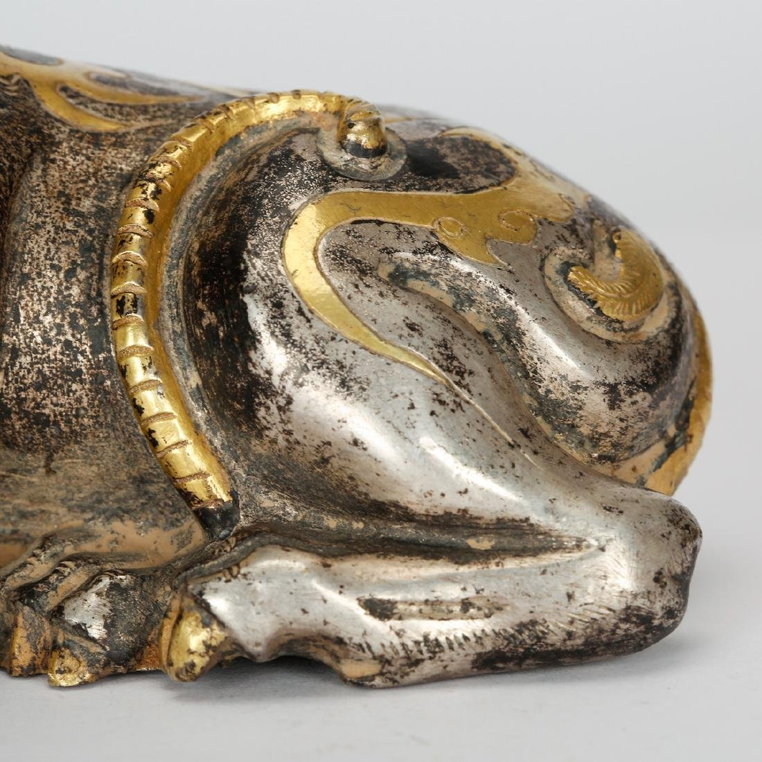 CHINESE GILT SILVER OVER BRONZE DOG - 3