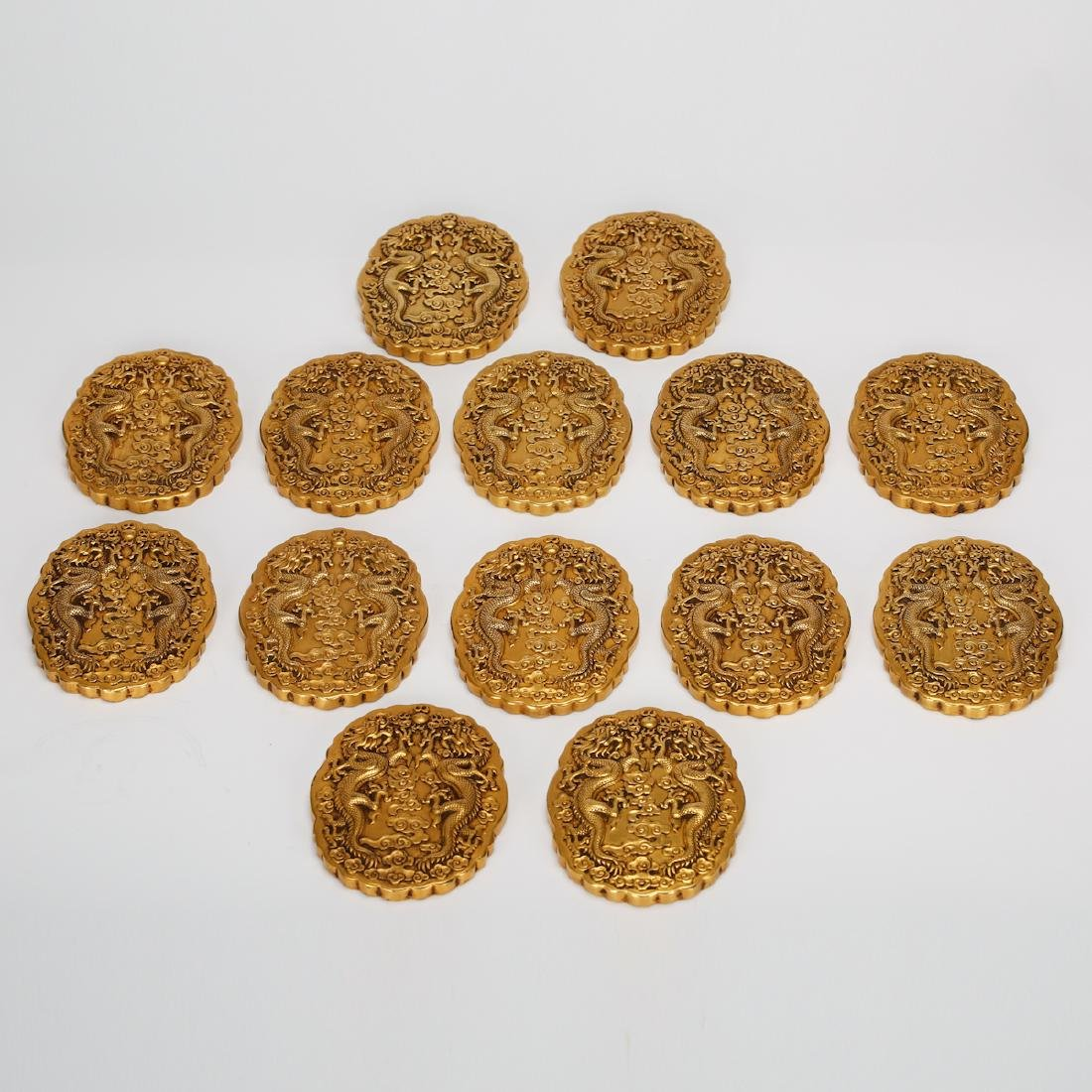 CHINESE GILT BRONZE OFFICIAL PLAQUES