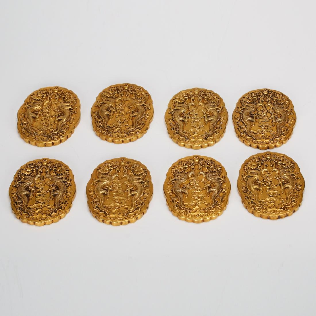 CHINESE GILT BRONZE OFFICIAL PLAQUES - 5