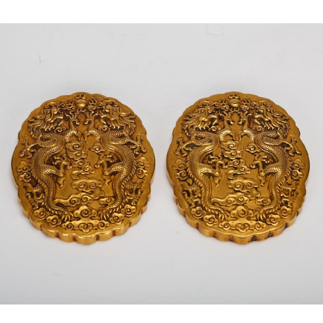 CHINESE GILT BRONZE OFFICIAL PLAQUES - 9