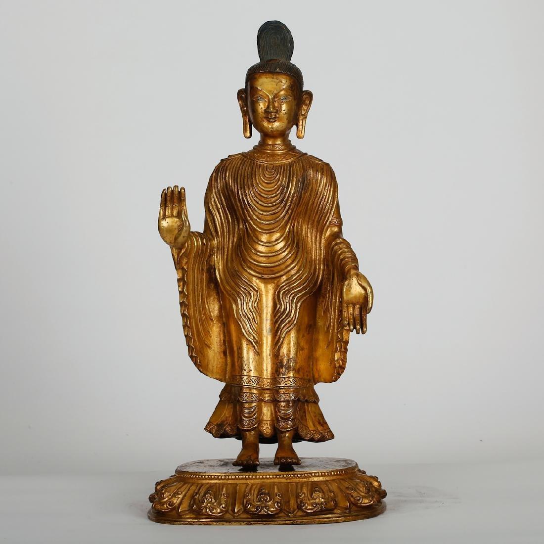 CHINESE GILT BRONZE STANDING BUDDHA