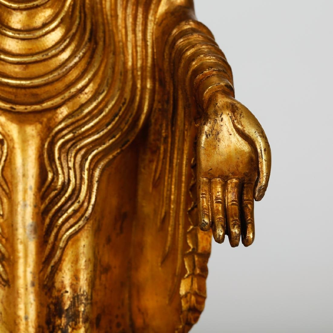 CHINESE GILT BRONZE STANDING BUDDHA - 3