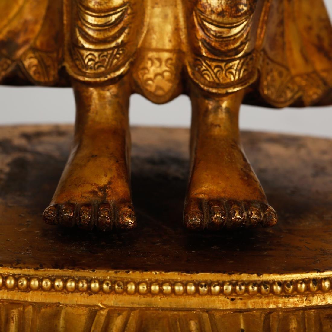 CHINESE GILT BRONZE STANDING BUDDHA - 5