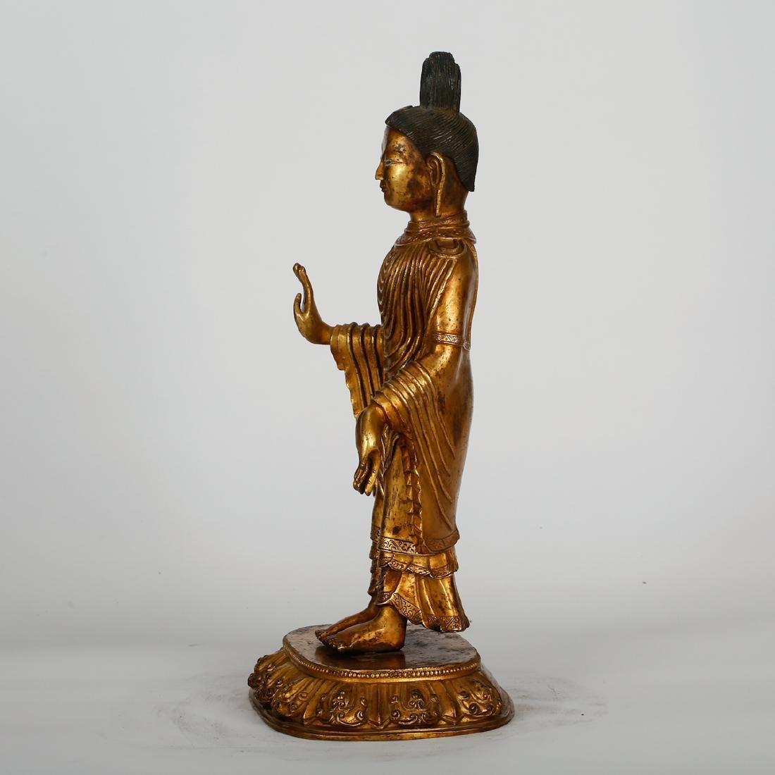 CHINESE GILT BRONZE STANDING BUDDHA - 7