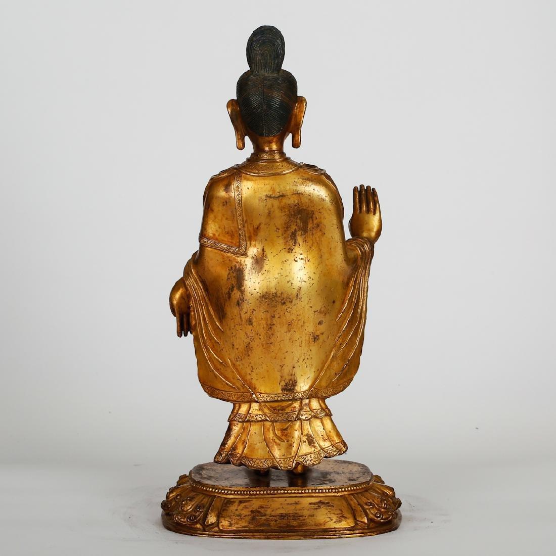 CHINESE GILT BRONZE STANDING BUDDHA - 8