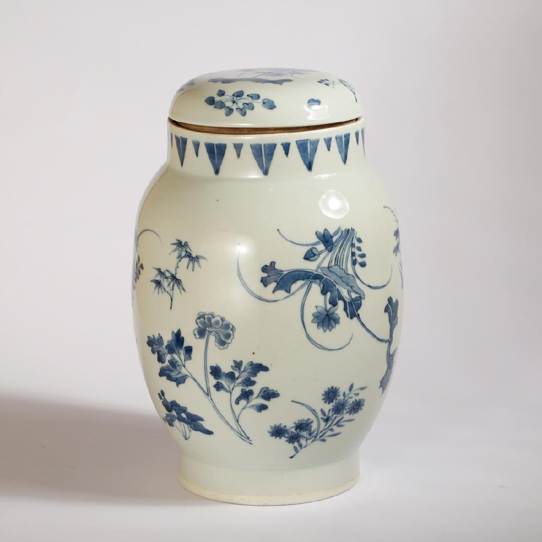 CHINESE BLUE AND WHITE COVER JAR - 3