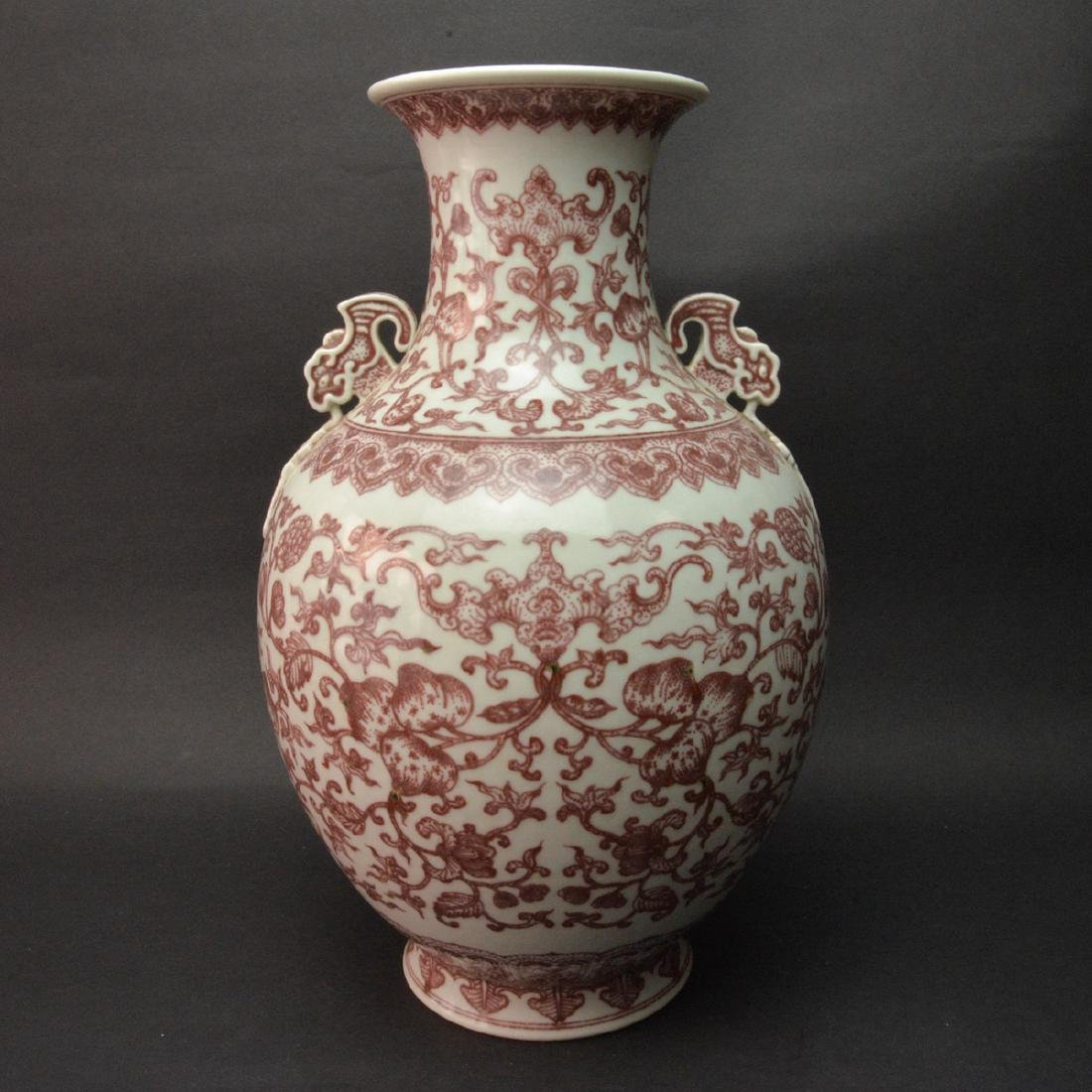 CHINESE IRON RED FOLIAGE PATTERN VASE