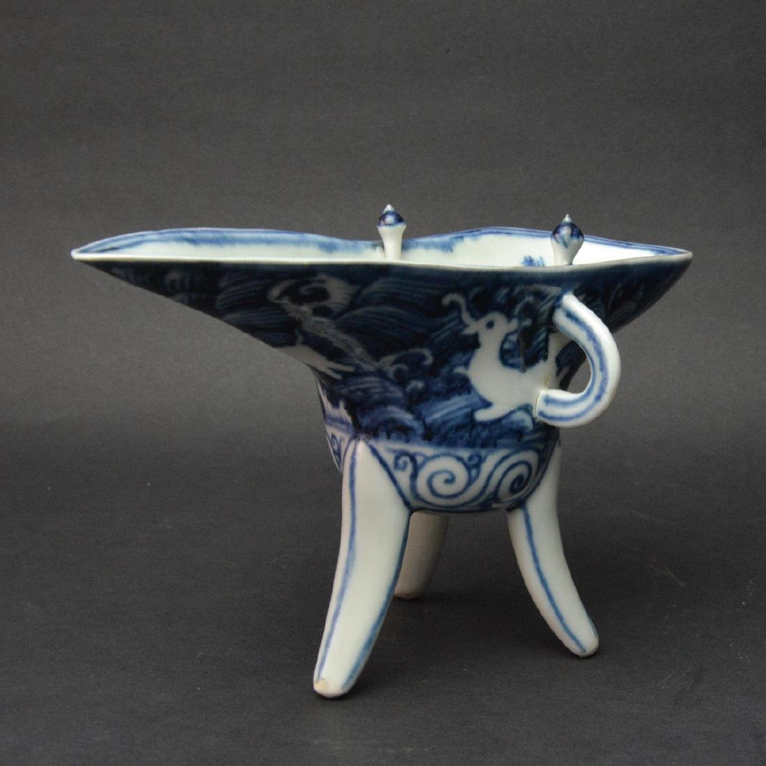 CHINESE BLUE AND WHITE JUE CUP - 3