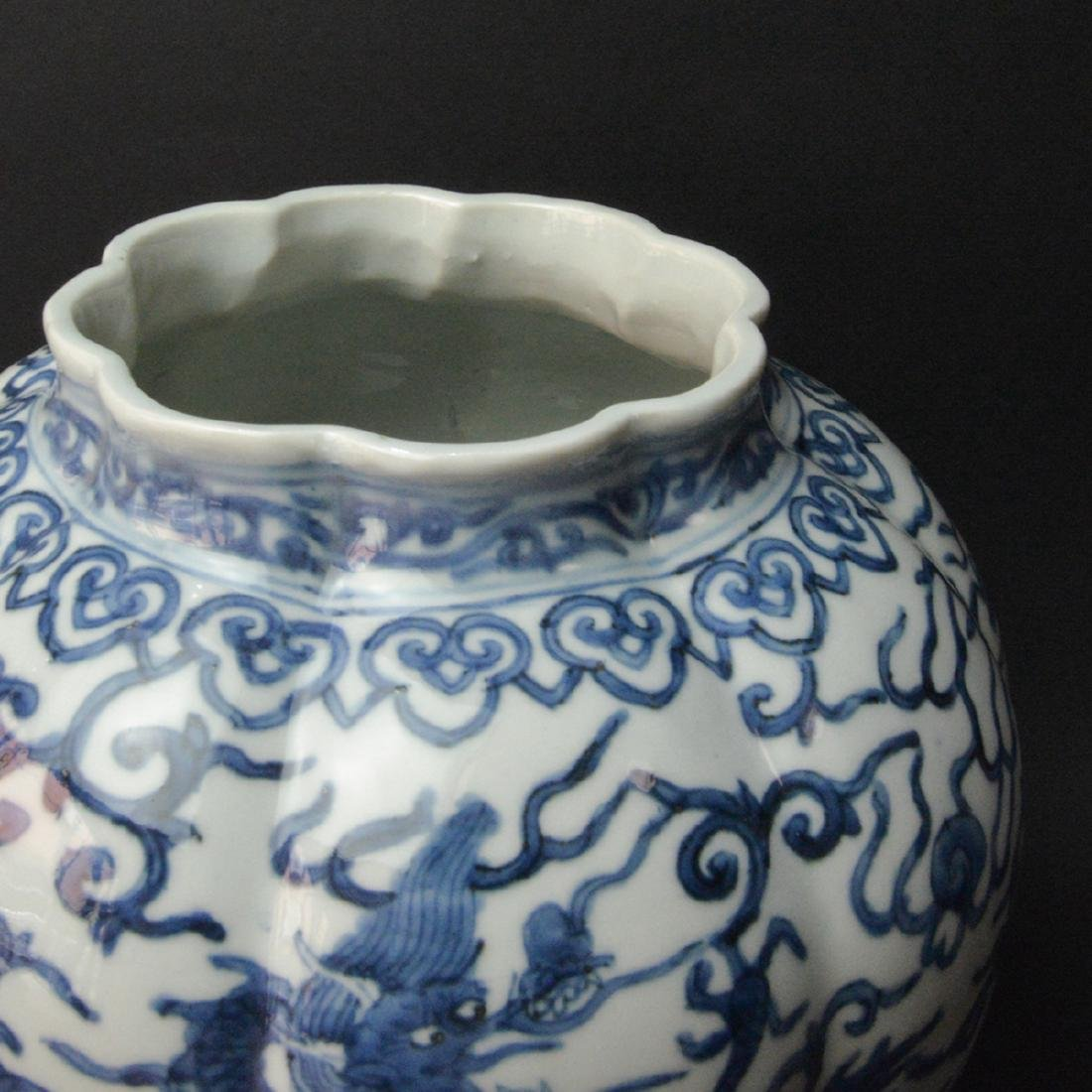 CHINESE BLUE AND WHITE DRAGON JAR - 4