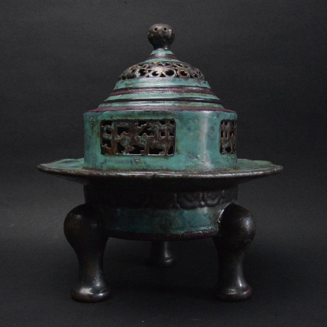 CHINESE ROBIN'S EGG GLAZED PORCELAIN CENSER