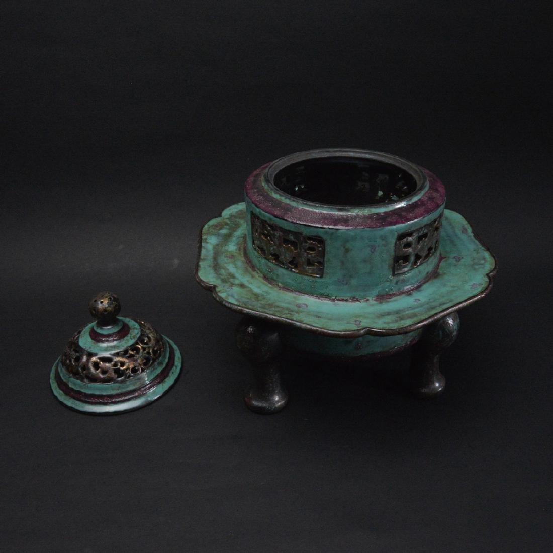 CHINESE ROBIN'S EGG GLAZED PORCELAIN CENSER - 2