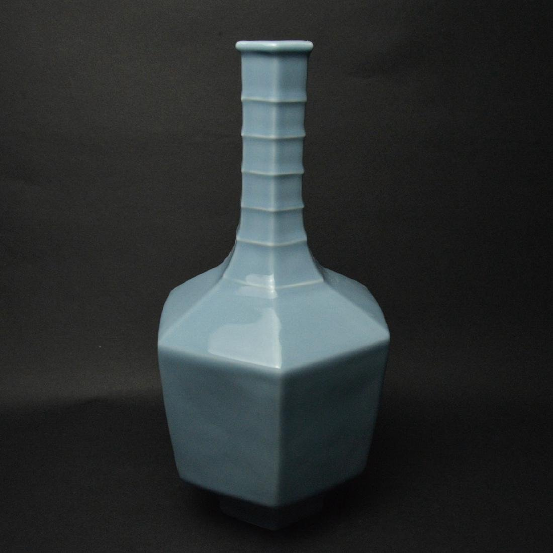 CHINESE BLUE GLAZED PORCELAIN VASE - 2