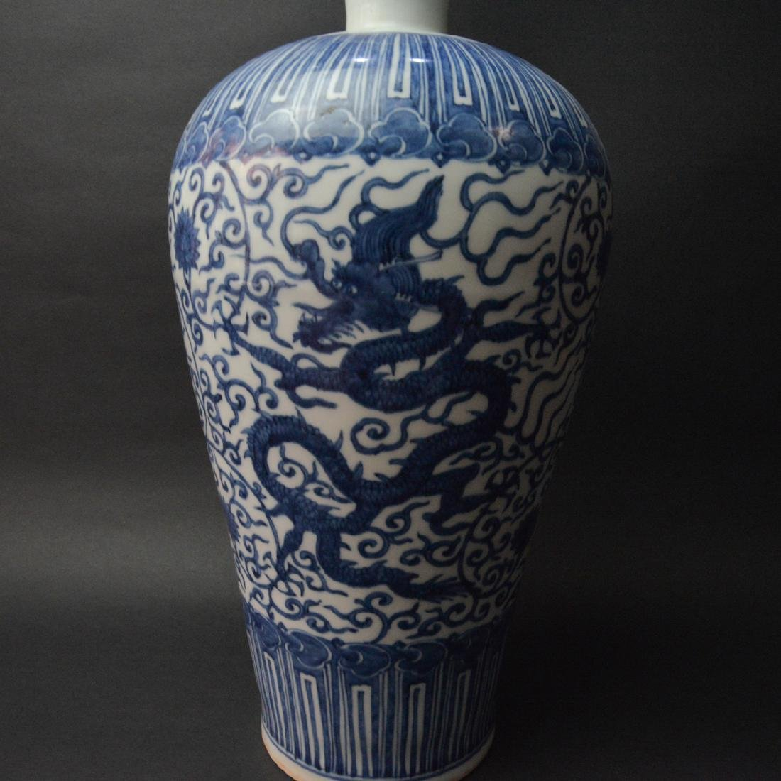 CHINESE BLUE AND WHITE PORCELAIN DRAGON VASE - 5