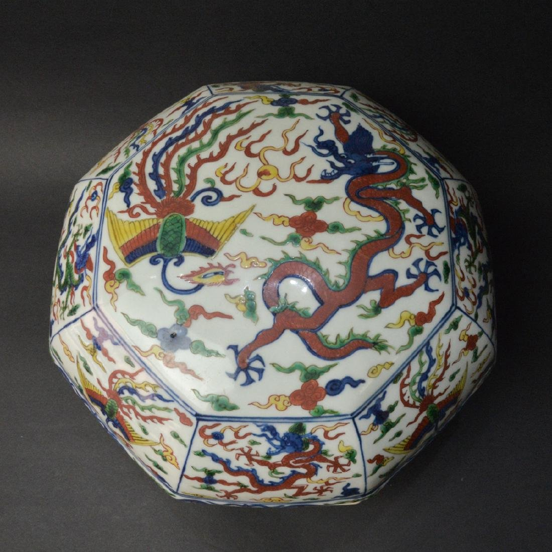 CHINESE WUCAI DRAGON PHOENIX COVER BOX - 3