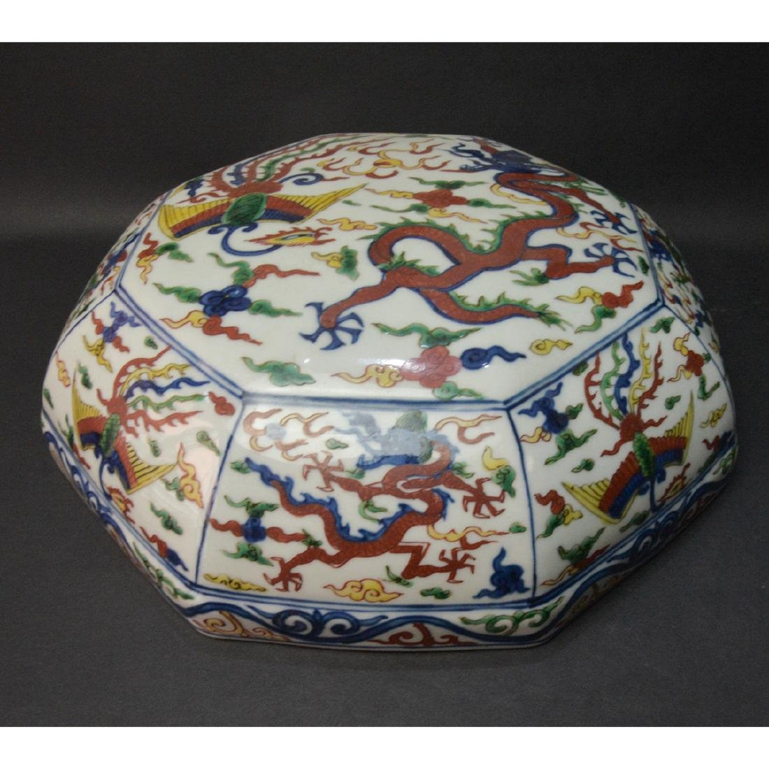 CHINESE WUCAI DRAGON PHOENIX COVER BOX - 5