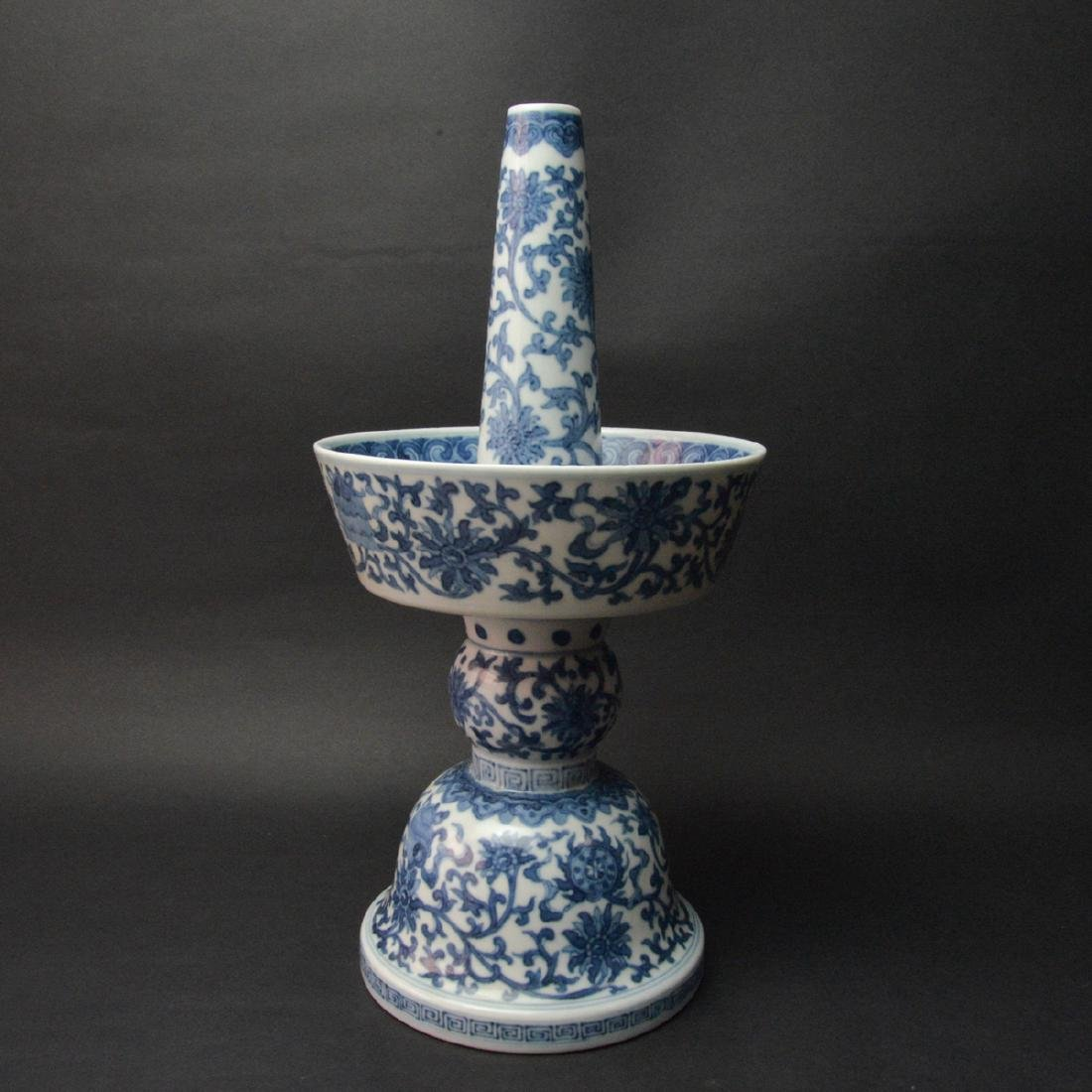 CHINESE BLUE AND WHITE CANDLE STAND - 2