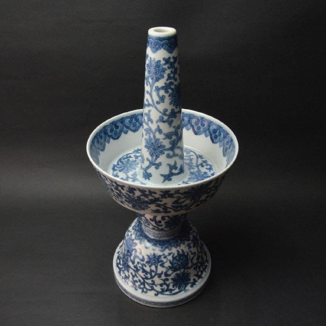 CHINESE BLUE AND WHITE CANDLE STAND - 3