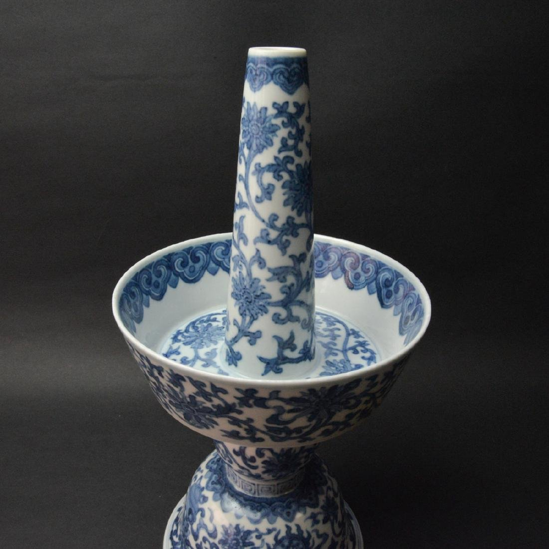 CHINESE BLUE AND WHITE CANDLE STAND - 4