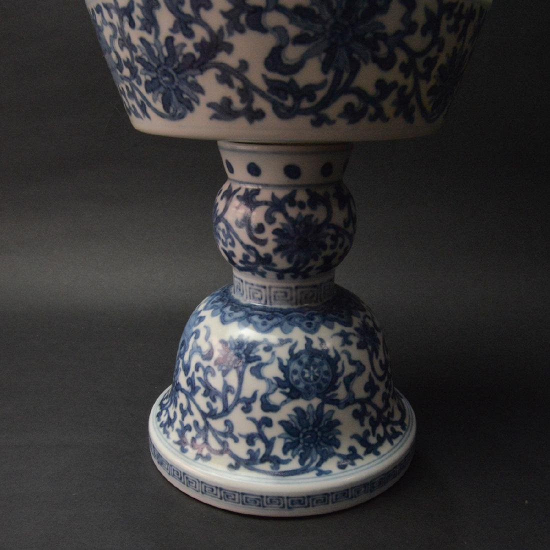 CHINESE BLUE AND WHITE CANDLE STAND - 5