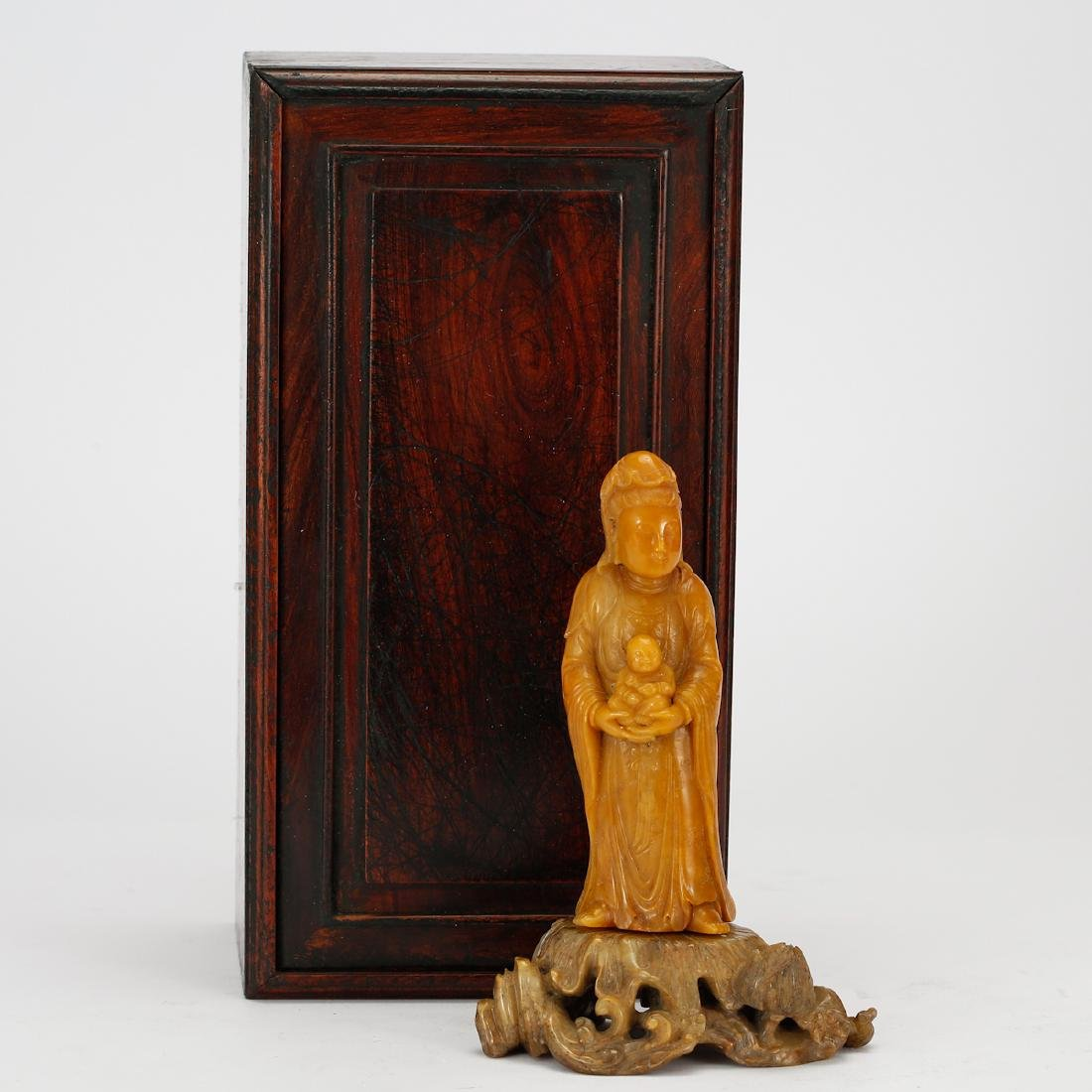 CHINESE SOAPSTONE CARVED GUANYIN