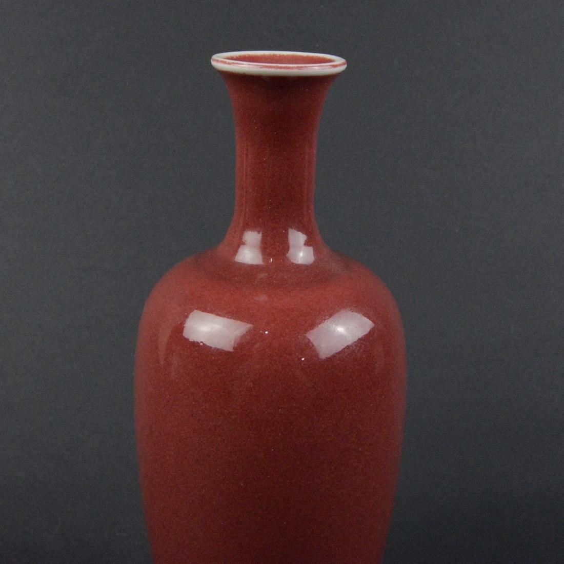 CHINESE OXBLOOD GLAZED VASE - 4
