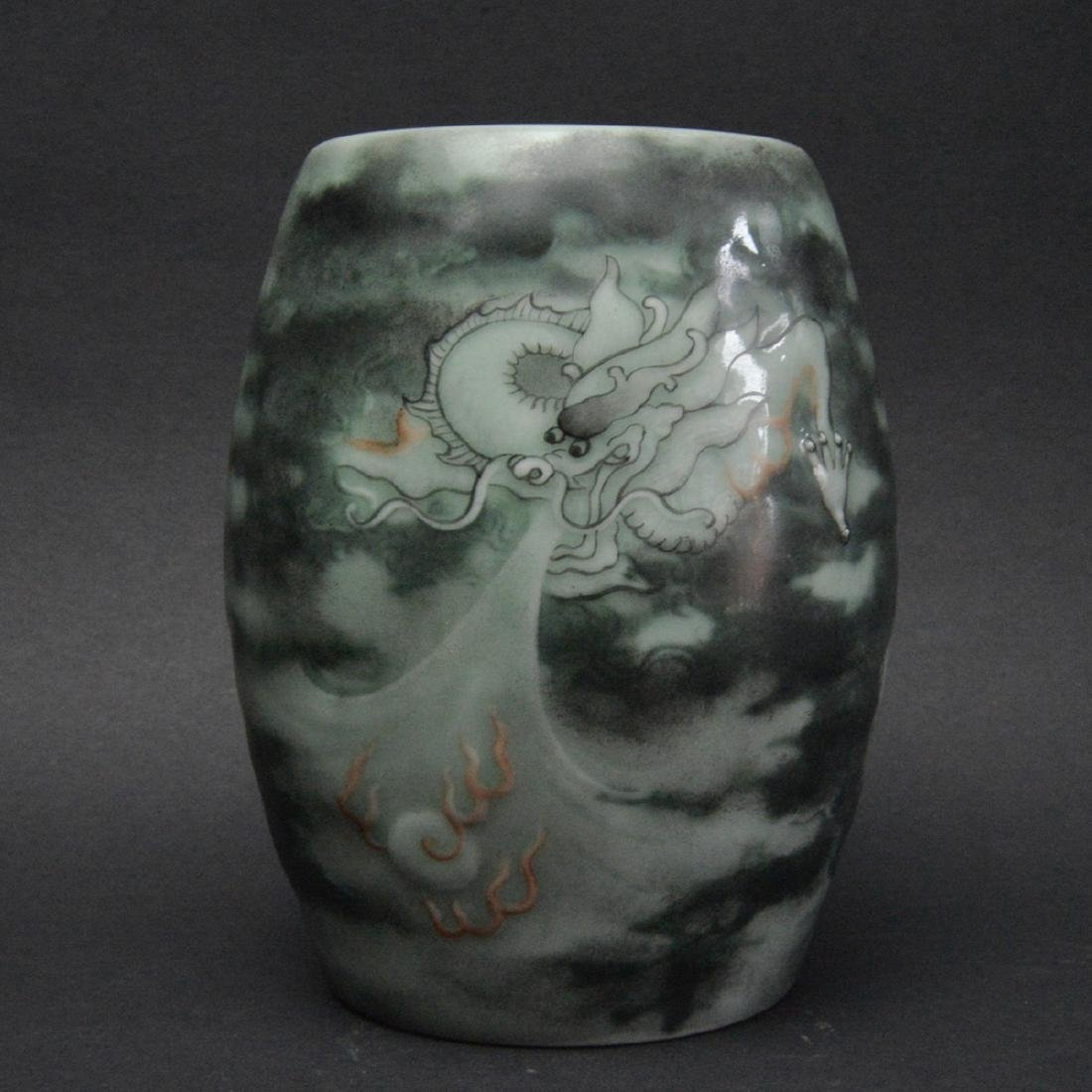 CHINESE PAINTED DRAGON PORCELAIN JAR
