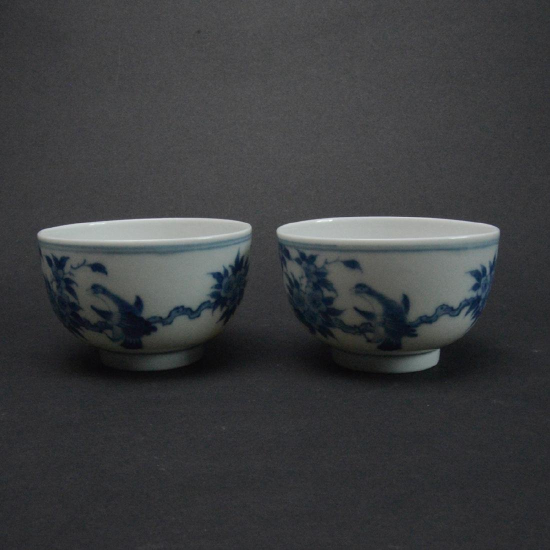 CHINESE BLUE AND WHITE PORCELAIN CUPS - 2