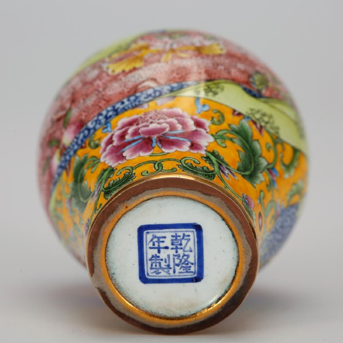 CHINESE BRONZE ENAMEL SNUFF BOTTLE - 8