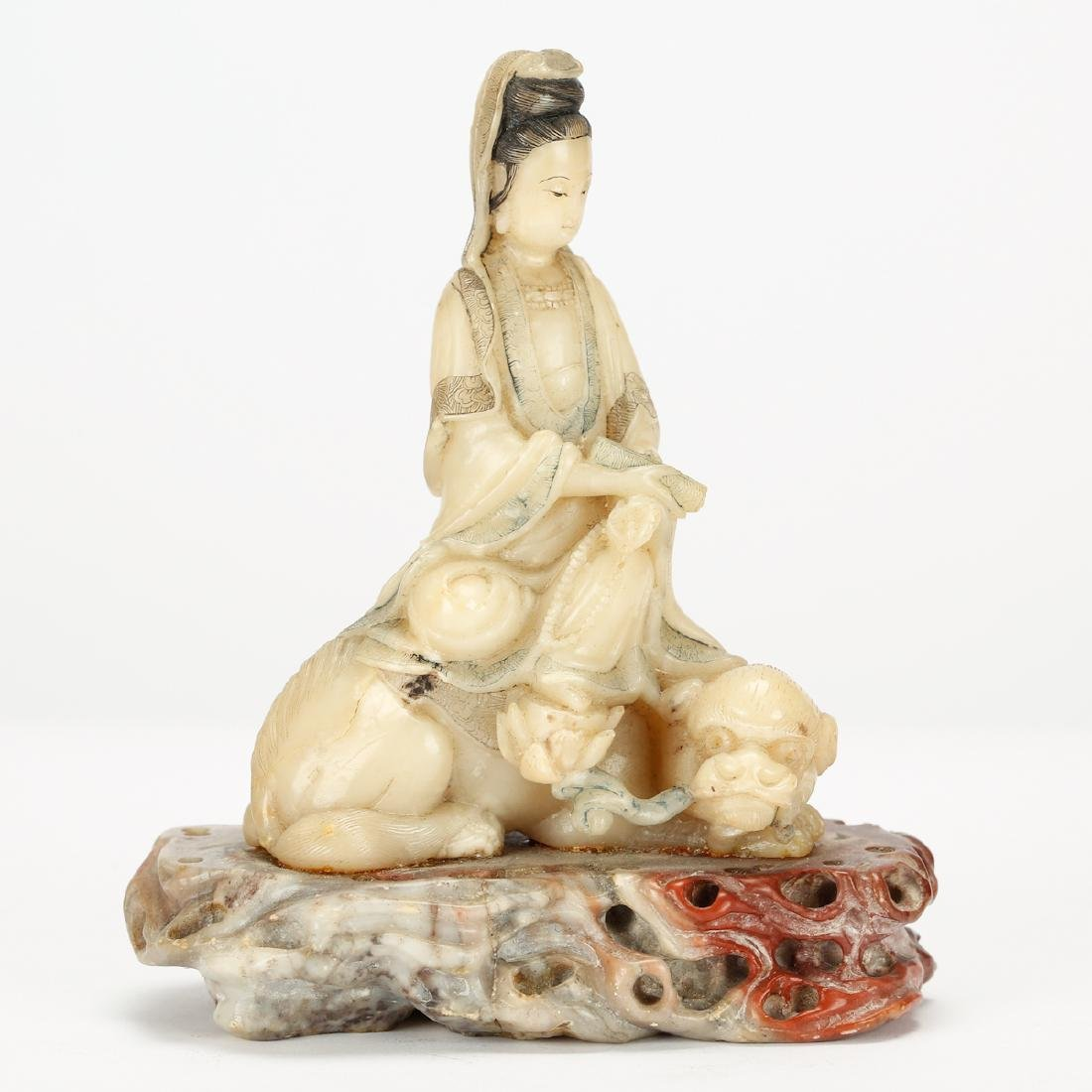 CHINESE SOAPSTONE CARVED SEATED GUANYIN