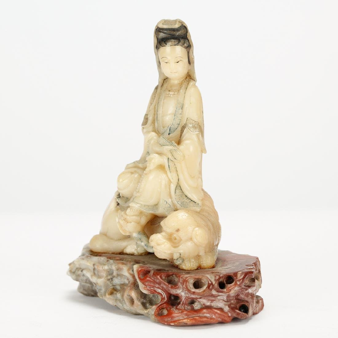 CHINESE SOAPSTONE CARVED SEATED GUANYIN - 3