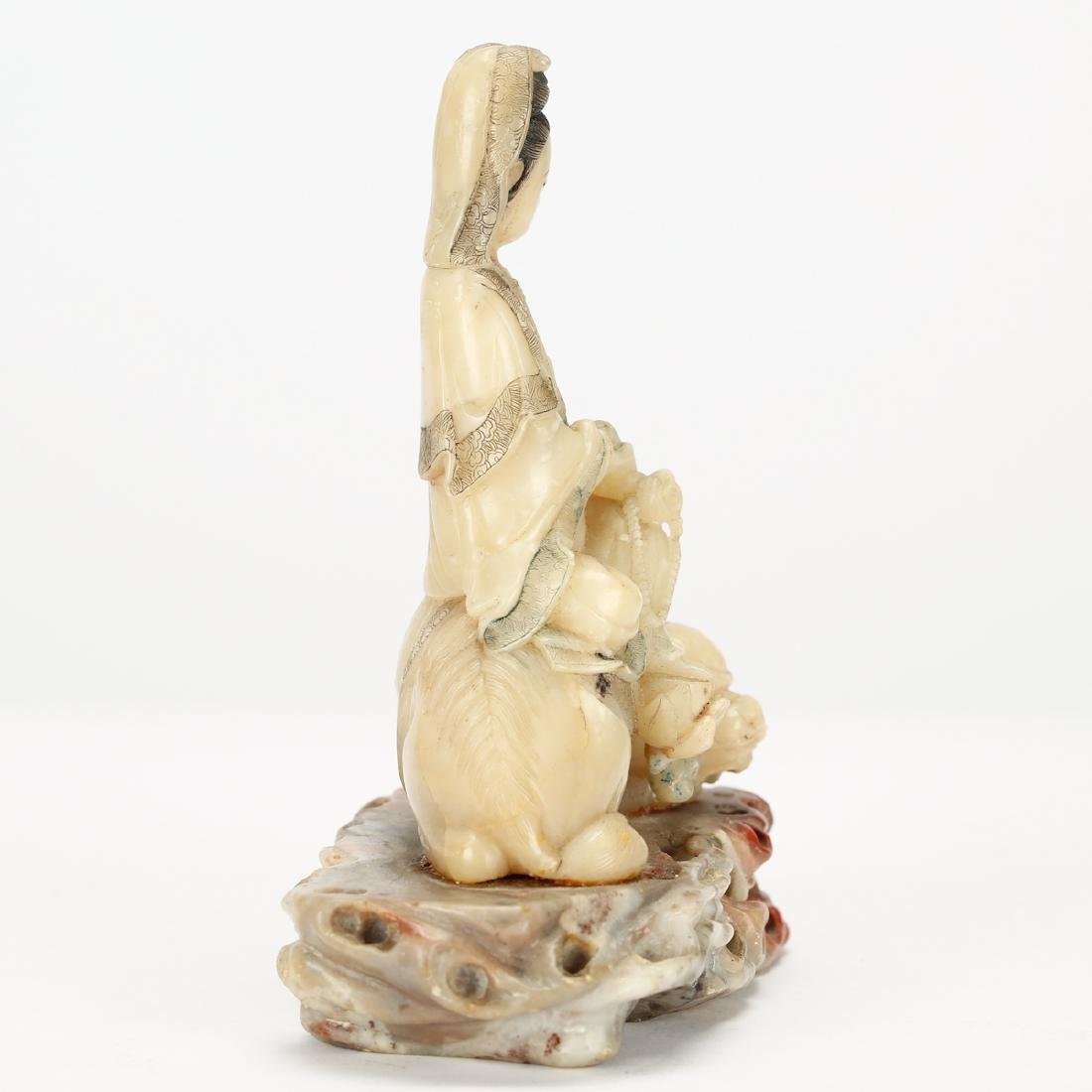 CHINESE SOAPSTONE CARVED SEATED GUANYIN - 4