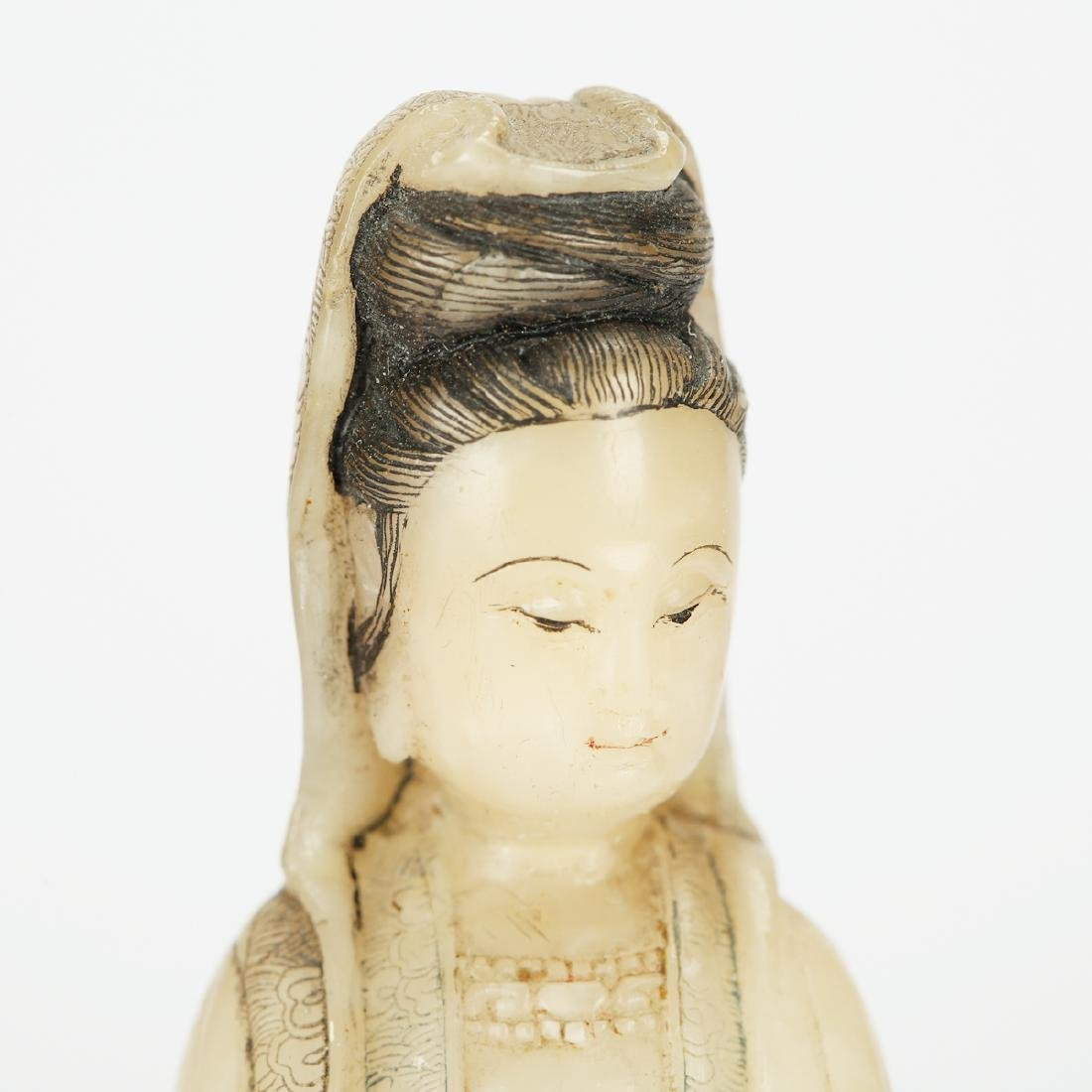 CHINESE SOAPSTONE CARVED SEATED GUANYIN - 5