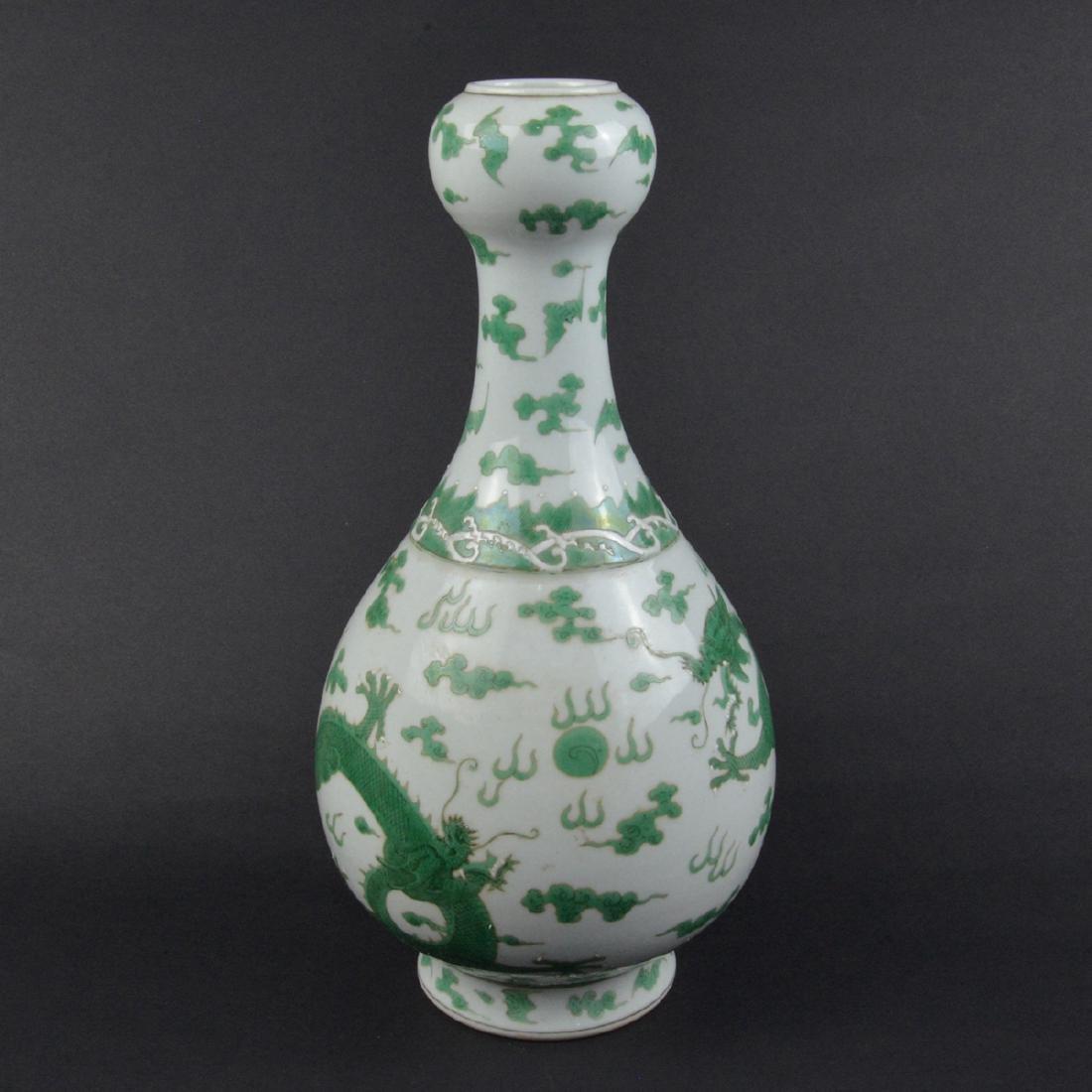 CHINESE GREEN DRAGON VASE - 2