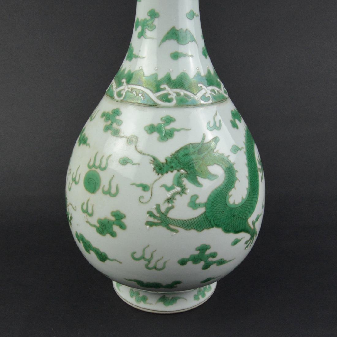 CHINESE GREEN DRAGON VASE - 5