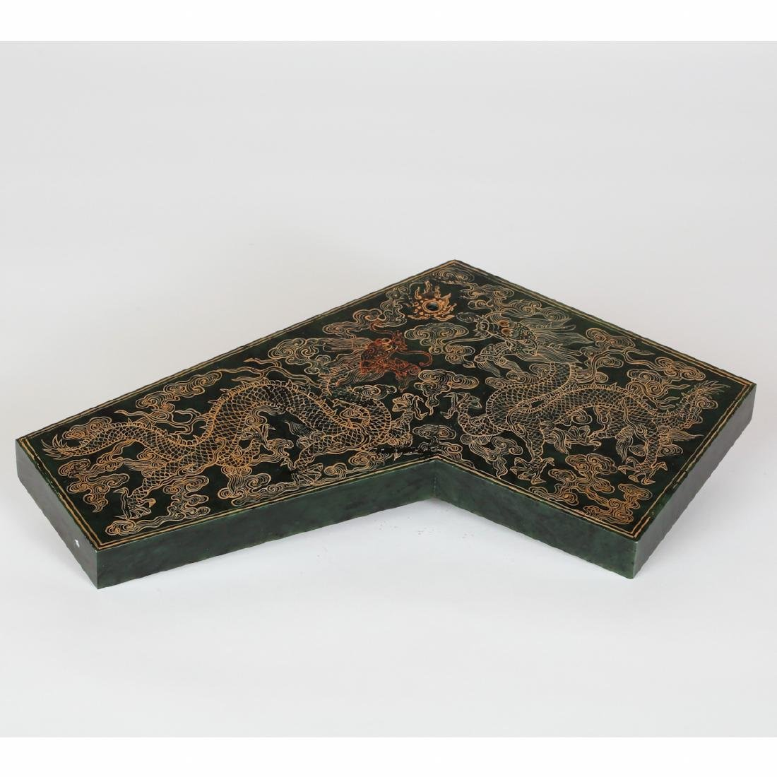 CHINESE SPINACH JADE GILDED PLAQUE