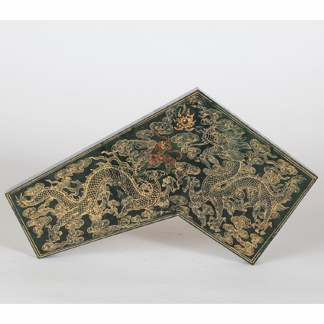 CHINESE SPINACH JADE GILDED PLAQUE - 2